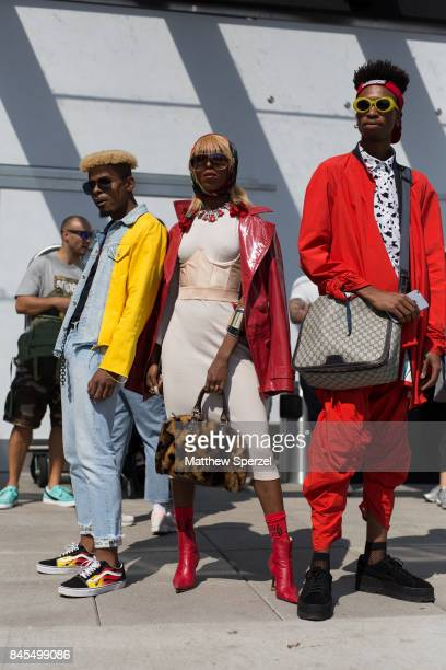Conrad Byer Dalia Drake and Brandon Foster are seen attending Public School during New York Fashion Week wearing vintage Gucci Rihanna Pumas vintage...