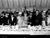 Conrad Nagel Marion Davies and the rest of the cast and crew of the MGM film 'Quality Street' celebrate director Sidney Franklin's birthday