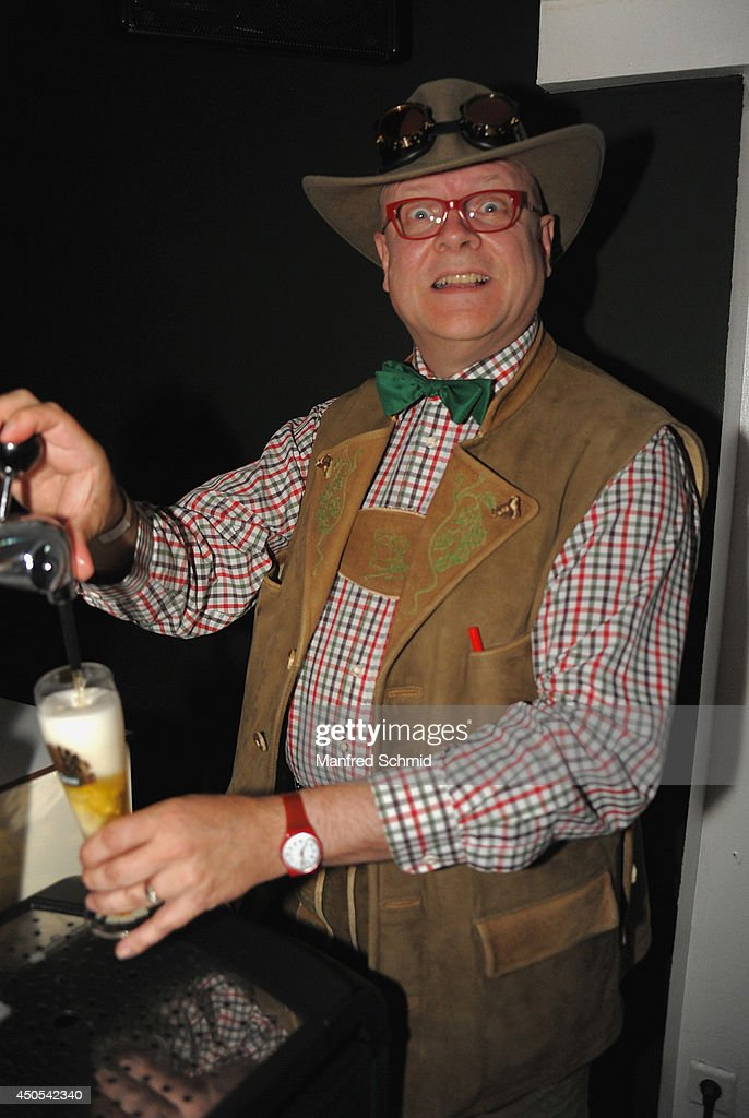 Conrad Seidl aka Bierpapst poses for a photograph during the beauty competition 'Miss Wiener Wiesn-Fest 2014' at Platzhirsch on on June 12, 2014 in Vienna, Austria.