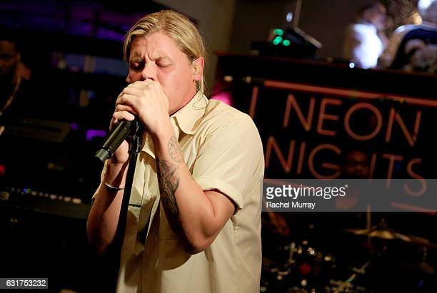 Conrad Sewell performs during the NYX Professional Makeup Presents 'Neon Nights' IMATS LA VIP Party at The Reserve on January 14 2017 in Los Angeles...