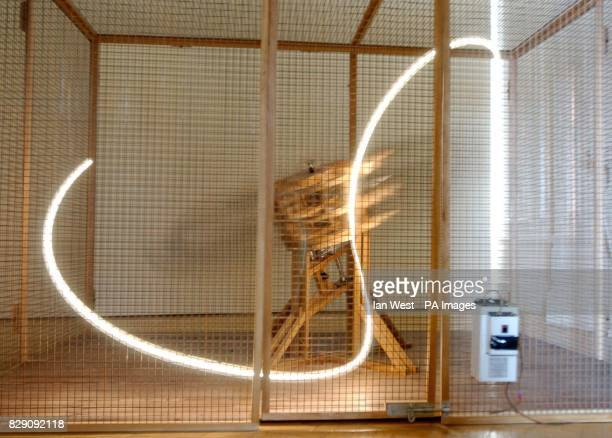 Conrad Shawcross' Light Perpetual 1 which forms part of the new exhibition 'Galleon and Other Stories' at the Saatchi Gallery in central London The...