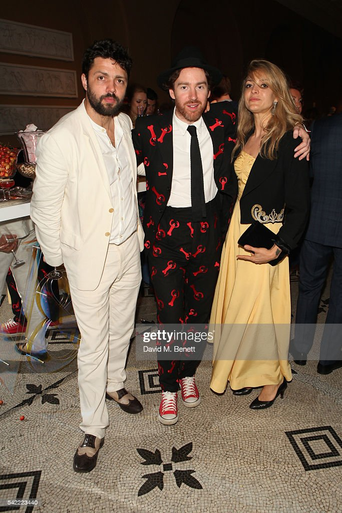 Conrad Shawcross (L), Philip Colbert (C) and Carolina Mazzolari attend the 2016 V&A Summer Party In Partnership with Harrods at The V&A on June 22, 2016 in London, England.