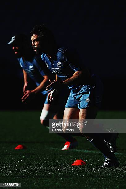 Conrad Smith and Ryan Crotty of the All Blacks run through drills during a New Zealand All Blacks training session at Eden Park on August 21 2014 in...