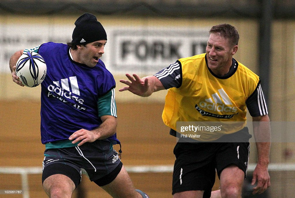 Conrad Smith of the All Blacks is tagged by Brad Thorn during the All Blacks recovery session at the Edgar Centre on June 14 2010 in Dunedin New...