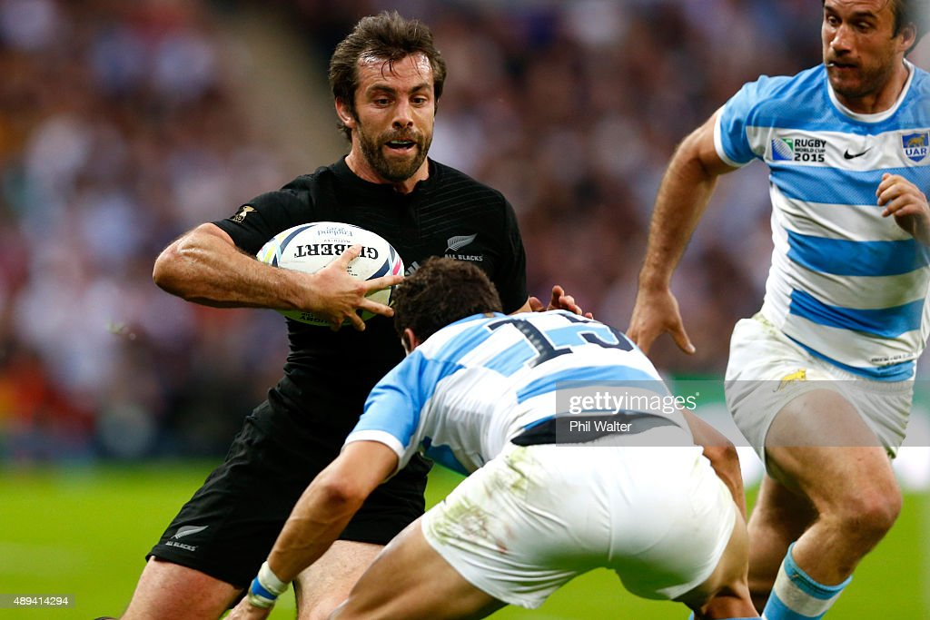 Conrad Smith of the All Blacks makes a break during the 2015 Rugby World Cup Pool C match between New Zealand and Argentina at Wembley Stadium on...