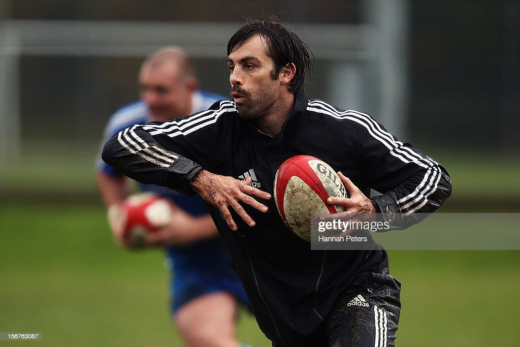 <a gi-track='captionPersonalityLinkClicked' href=/galleries/search?phrase=Conrad+Smith&family=editorial&specificpeople=644500 ng-click='$event.stopPropagation()'>Conrad Smith</a> of the All Blacks runs through drills during a training session at the University of Glamorgan training fields on November 20, 2012 in Cardiff, Wales.
