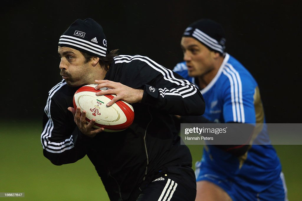 <a gi-track='captionPersonalityLinkClicked' href=/galleries/search?phrase=Conrad+Smith&family=editorial&specificpeople=644500 ng-click='$event.stopPropagation()'>Conrad Smith</a> of the All Blacks runs through drills during a training session at the University of Glamorgan training fields on November 22, 2012 in Cardiff, Wales.