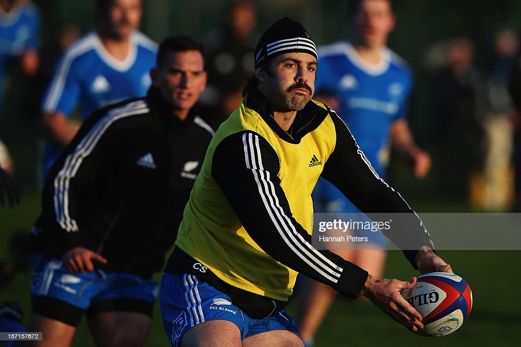 <a gi-track='captionPersonalityLinkClicked' href=/galleries/search?phrase=Conrad+Smith&family=editorial&specificpeople=644500 ng-click='$event.stopPropagation()'>Conrad Smith</a> of the All Blacks runs through drills during a training session at Latymers Upper School on November 29, 2012 in London, England.