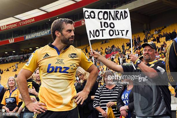Conrad Smith of the Hurricanes looks on after playing his 100th Super Rugby game during the round five Super Rugby match between the Hurricanes and...