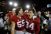 Conrad Ukropina of the Stanford Cardinal celebrates with Nate Lohn after he kicked the gamewinning field at the end of regulation to beat the Notre...