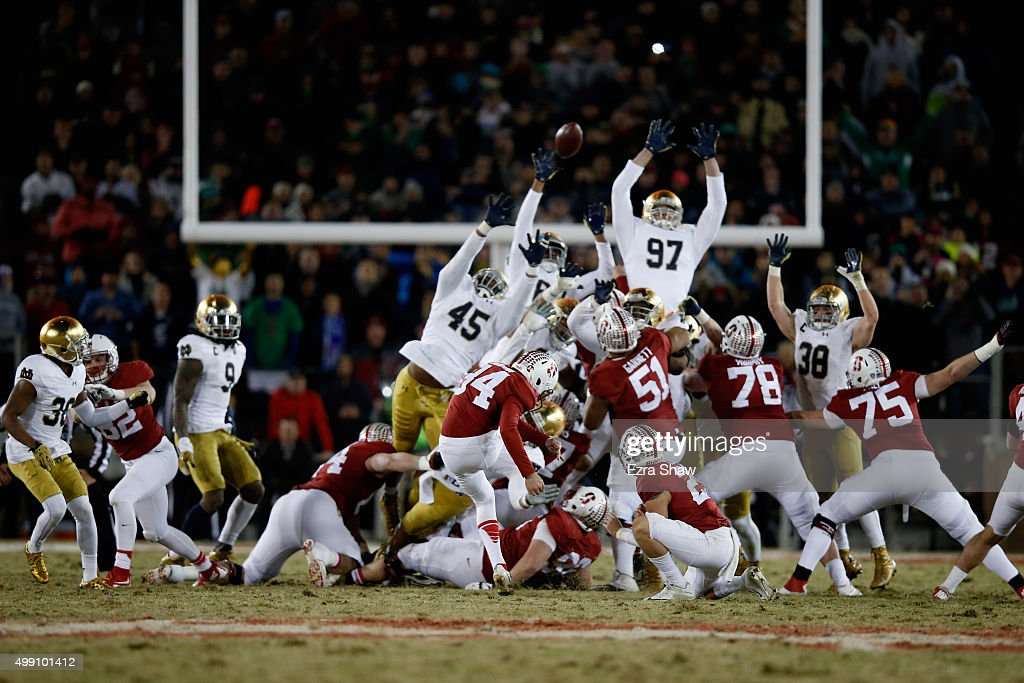 Conrad Ukropina of the Stanford Cardinal kicks the gamewinning field at the end of regulation to be the Notre Dame Fighting Irish at Stanford Stadium...