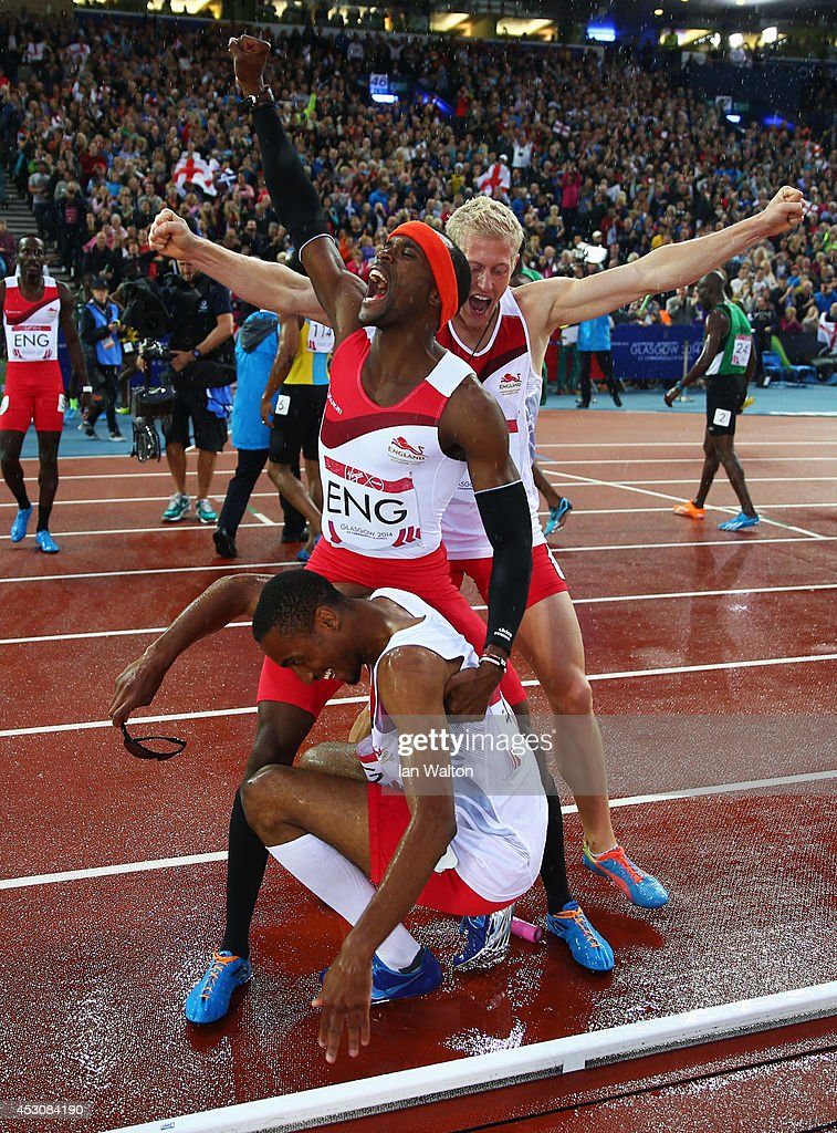 <a gi-track='captionPersonalityLinkClicked' href=/galleries/search?phrase=Conrad+Williams+-+Track+and+Field+Athlete&family=editorial&specificpeople=5934383 ng-click='$event.stopPropagation()'>Conrad Williams</a>, <a gi-track='captionPersonalityLinkClicked' href=/galleries/search?phrase=Matthew+Hudson-Smith&family=editorial&specificpeople=7910892 ng-click='$event.stopPropagation()'>Matthew Hudson-Smith</a> and <a gi-track='captionPersonalityLinkClicked' href=/galleries/search?phrase=Daniel+Awde&family=editorial&specificpeople=2161356 ng-click='$event.stopPropagation()'>Daniel Awde</a> of England celebrate winning gold in the Men's 4x400 metres relay at Hampden Park during day ten of the Glasgow 2014 Commonwealth Games on August 2, 2014 in Glasgow, United Kingdom.