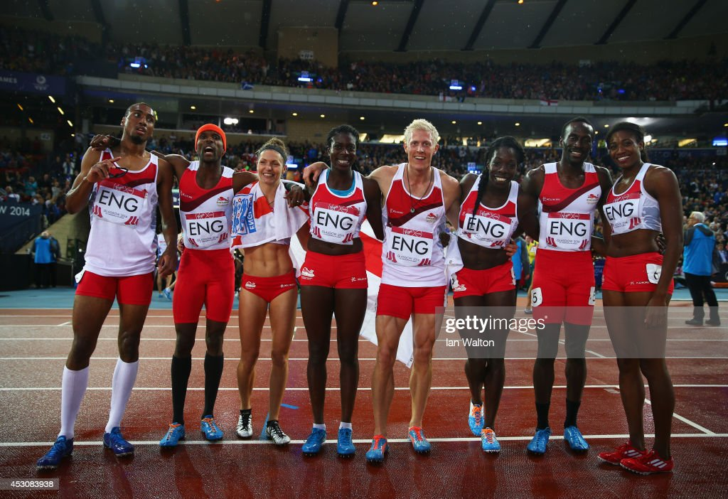 <a gi-track='captionPersonalityLinkClicked' href=/galleries/search?phrase=Conrad+Williams+-+Track+and+Field+Athlete&family=editorial&specificpeople=5934383 ng-click='$event.stopPropagation()'>Conrad Williams</a>, <a gi-track='captionPersonalityLinkClicked' href=/galleries/search?phrase=Matthew+Hudson-Smith&family=editorial&specificpeople=7910892 ng-click='$event.stopPropagation()'>Matthew Hudson-Smith</a>, <a gi-track='captionPersonalityLinkClicked' href=/galleries/search?phrase=Michael+Bingham&family=editorial&specificpeople=5435142 ng-click='$event.stopPropagation()'>Michael Bingham</a> and <a gi-track='captionPersonalityLinkClicked' href=/galleries/search?phrase=Daniel+Awde&family=editorial&specificpeople=2161356 ng-click='$event.stopPropagation()'>Daniel Awde</a> of England pose with the Bronze medalists Women's 4x400 metres team, <a gi-track='captionPersonalityLinkClicked' href=/galleries/search?phrase=Shana+Cox+-+Track+and+Field+Athlete&family=editorial&specificpeople=8005541 ng-click='$event.stopPropagation()'>Shana Cox</a>, <a gi-track='captionPersonalityLinkClicked' href=/galleries/search?phrase=Kelly+Massey&family=editorial&specificpeople=7235290 ng-click='$event.stopPropagation()'>Kelly Massey</a>, <a gi-track='captionPersonalityLinkClicked' href=/galleries/search?phrase=Christine+Ohuruogu&family=editorial&specificpeople=703549 ng-click='$event.stopPropagation()'>Christine Ohuruogu</a> and <a gi-track='captionPersonalityLinkClicked' href=/galleries/search?phrase=Anyika+Onuora&family=editorial&specificpeople=740583 ng-click='$event.stopPropagation()'>Anyika Onuora</a> of England after the Men's 4x400 metres relay at Hampden Park during day ten of the Glasgow 2014 Commonwealth Games on August 2, 2014 in Glasgow, United Kingdom.