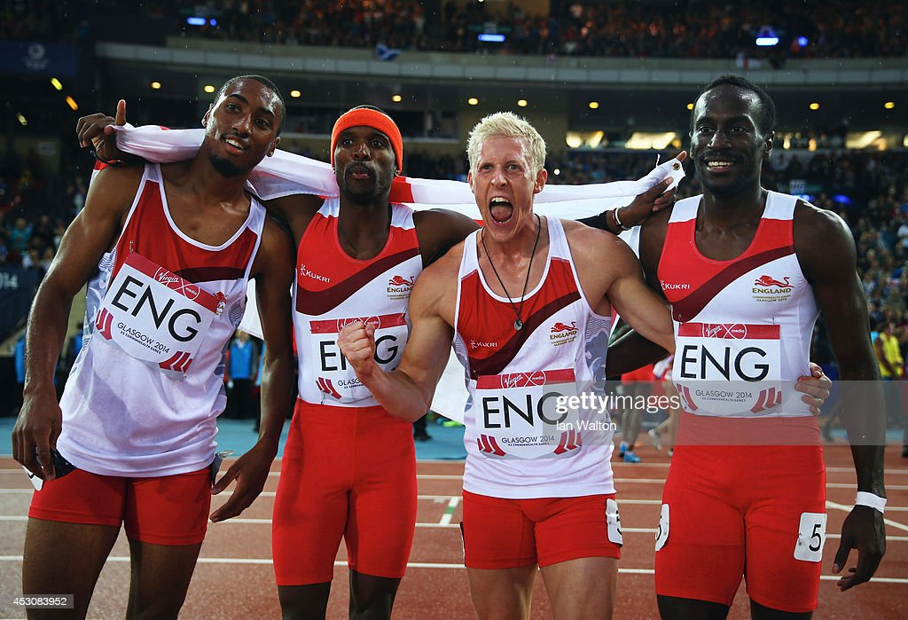 <a gi-track='captionPersonalityLinkClicked' href=/galleries/search?phrase=Conrad+Williams+-+Track+and+Field+Athlete&family=editorial&specificpeople=5934383 ng-click='$event.stopPropagation()'>Conrad Williams</a>, <a gi-track='captionPersonalityLinkClicked' href=/galleries/search?phrase=Matthew+Hudson-Smith&family=editorial&specificpeople=7910892 ng-click='$event.stopPropagation()'>Matthew Hudson-Smith</a>, <a gi-track='captionPersonalityLinkClicked' href=/galleries/search?phrase=Michael+Bingham&family=editorial&specificpeople=5435142 ng-click='$event.stopPropagation()'>Michael Bingham</a> and <a gi-track='captionPersonalityLinkClicked' href=/galleries/search?phrase=Daniel+Awde&family=editorial&specificpeople=2161356 ng-click='$event.stopPropagation()'>Daniel Awde</a> of England celebrate winning gold in the Men's 4x400 metres relay at Hampden Park during day ten of the Glasgow 2014 Commonwealth Games on August 2, 2014 in Glasgow, United Kingdom.