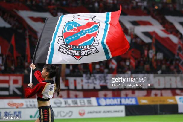Consadole Sapporo cheer leader wave the flag prior to the JLeague J1 match between Consadole Sapporo and Shimizu SPulse at Sappaoro Dome on July 1...