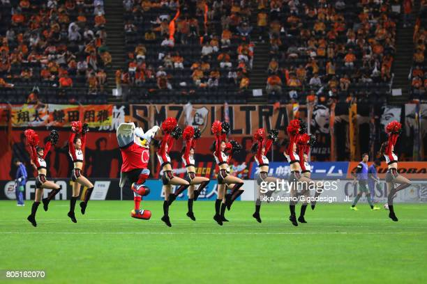 Consadole Sapporo cheer leaders perform at the half time during the JLeague J1 match between Consadole Sapporo and Shimizu SPulse at Sappaoro Dome on...