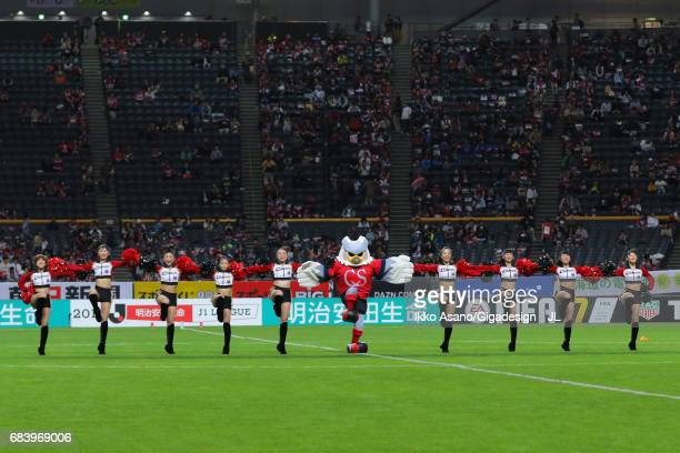 Consadole Sapporo mascot Dolekun and cheer leaders perform prior to the JLeague J1 match between Consadole Sapporo and Gamba Osaka at Sapporo Dome on...