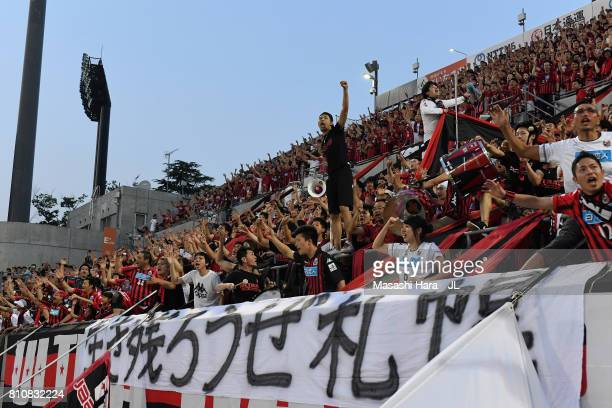 Consadole Sapporo players cheer prior to the JLeague J1 match between Omiya Ardija and Consadole Sapporo at NACK 5 Stadium Omiya on July 8 2017 in...
