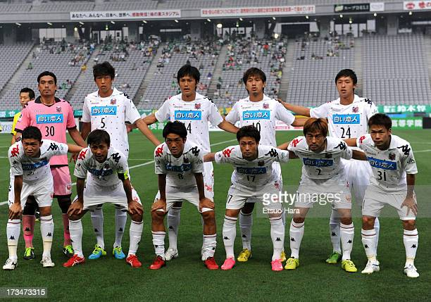 Consadole Sapporo players line up for the team photos prior to the JLeague second division match between Tokyo Verdy and Consadole Sapporo at...