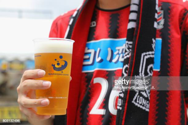 Consadole Sapporo supporter enjoys prior to the JLeague J1 match between Consadole Sapporo and Shimizu SPulse at Sappaoro Dome on July 1 2017 in...