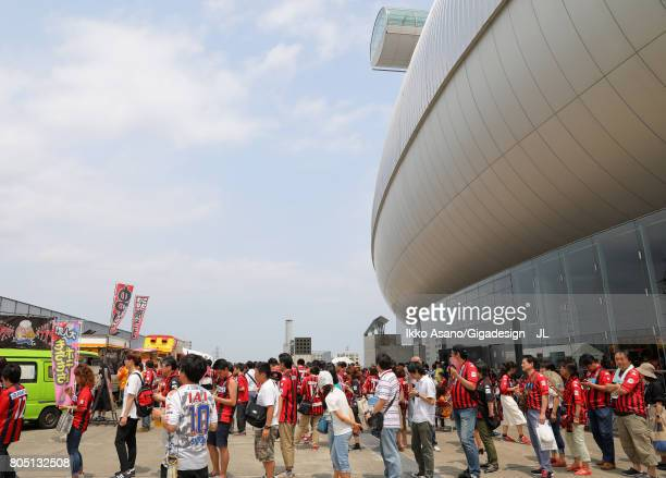 Consadole Sapporo supporters queue at food stalls prior to the JLeague J1 match between Consadole Sapporo and Shimizu SPulse at Sappaoro Dome on July...