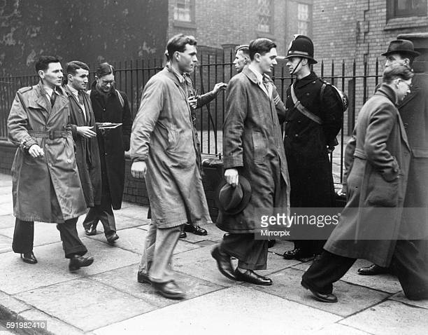 Conscientious objectors on their way to plead their case at Liverpool tribunal 25th March 1941