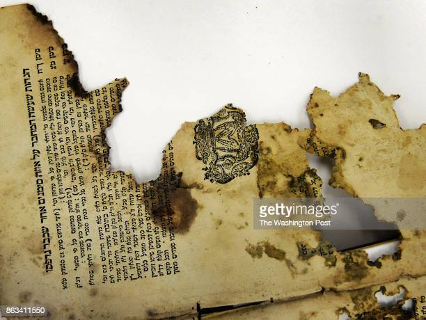 Conservation of a trove of Iraqi Jewish artifacts discovered in a basement during the war is almost completed on July 2013 in College Park MD This...