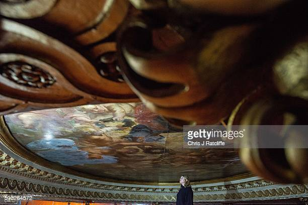 Conservationist Sarah Pinchin inspects her teams work on Rubens ceiling painting 'Apotheosis of James 1st' during restoration work at Banqueting...