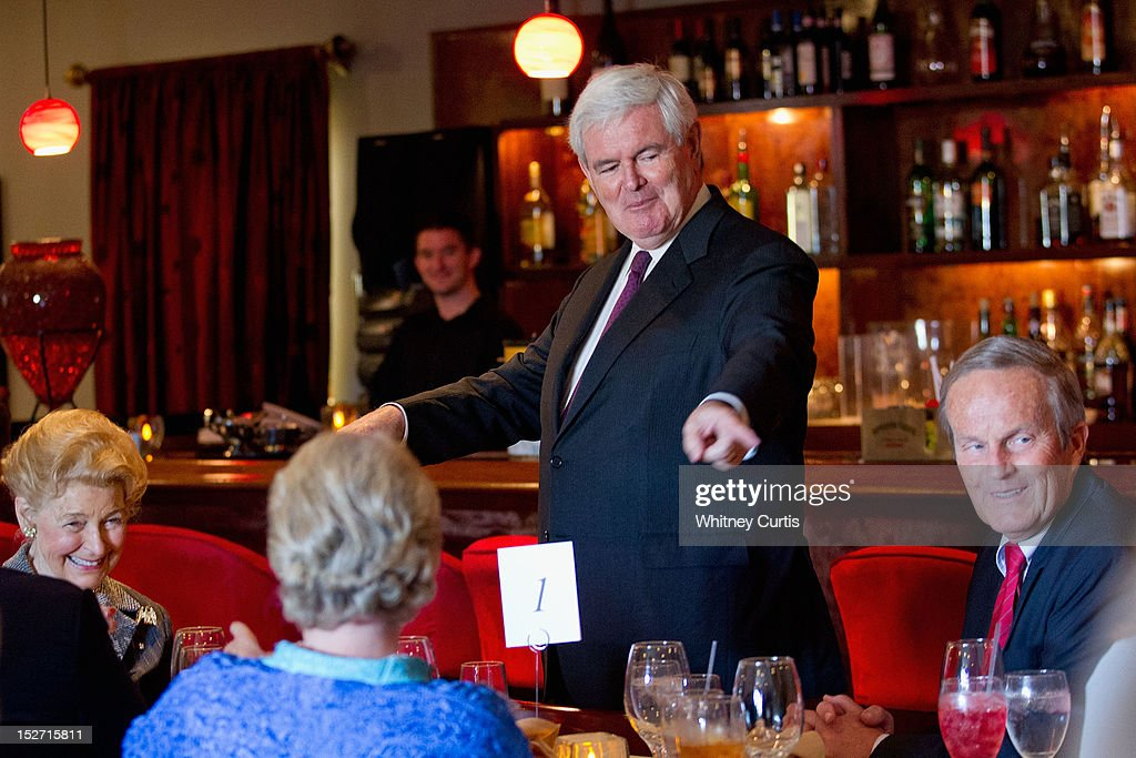 Conservative activist Phyllis Schlafly (L-R), former Speaker of the House <a gi-track='captionPersonalityLinkClicked' href=/galleries/search?phrase=Newt+Gingrich&family=editorial&specificpeople=202915 ng-click='$event.stopPropagation()'>Newt Gingrich</a> and U.S. Rep. <a gi-track='captionPersonalityLinkClicked' href=/galleries/search?phrase=Todd+Akin&family=editorial&specificpeople=5397424 ng-click='$event.stopPropagation()'>Todd Akin</a> (R-MO) attend a fundraiser for Akin on September 24, 2012 in Kirkwood, Missouri. Gingrich was in the St. Louis area to support Akin's U.S. Senate campaign against incumbent Claire McCaskill.