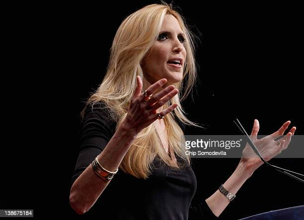 Conservative author and pundit Ann Coulter delivers remarks to the Conservative Political Action Conference at the Marriott Wardman Park February 10...