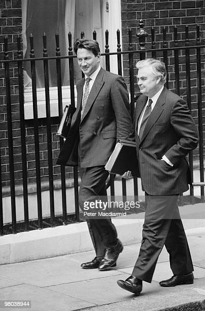 Conservative cabinet members Michael Portillo Chief Secretary to the Treasury and Norman Lamont Chancellor of the Exchequer 22nd July 1992