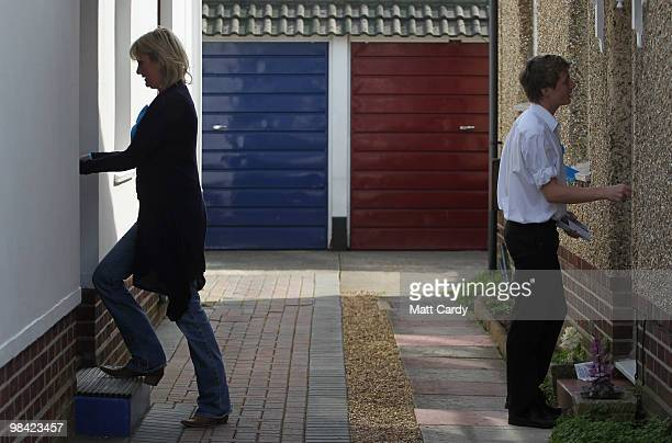 Conservative candidate Caroline Dinenage delivers pamplets as she campaigns in the constituency of Gosport in Hampshire on April 10 2010 in Gosport...