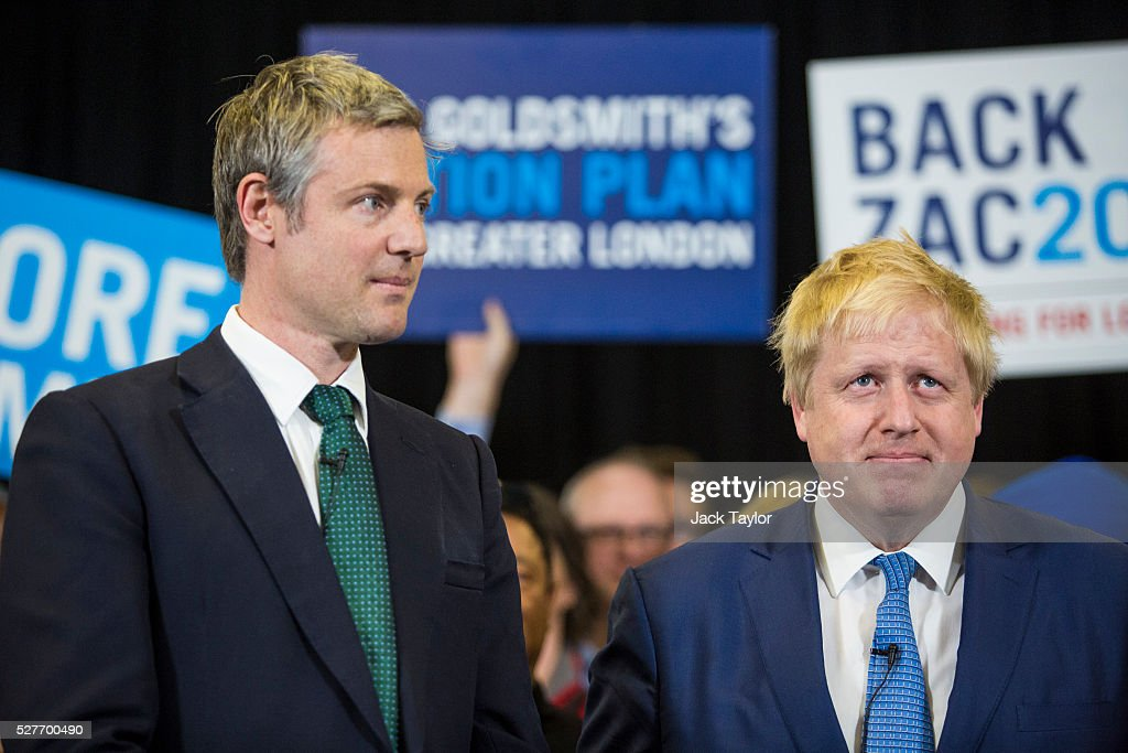 Conservative candidate for Mayor of London, <a gi-track='captionPersonalityLinkClicked' href=/galleries/search?phrase=Zac+Goldsmith&family=editorial&specificpeople=161321 ng-click='$event.stopPropagation()'>Zac Goldsmith</a> and London Mayor <a gi-track='captionPersonalityLinkClicked' href=/galleries/search?phrase=Boris+Johnson&family=editorial&specificpeople=209016 ng-click='$event.stopPropagation()'>Boris Johnson</a> attend a mayoral campaign rally at Grey Court School in Richmond on May 3, 2016 in London, England. The British Prime Minister David Cameron also joined the Conservative Mayoral candidate at Grey Court School on the penultimate day of campaigning. Former pupils of the school include London's Cycling Commissioner, Andrew Gilligan. Londoners go to the polls on Thursday 5th May with the declaration expected later on Friday 6th. The current Mayor of London is the Conservative MP for Henley, <a gi-track='captionPersonalityLinkClicked' href=/galleries/search?phrase=Boris+Johnson&family=editorial&specificpeople=209016 ng-click='$event.stopPropagation()'>Boris Johnson</a>.