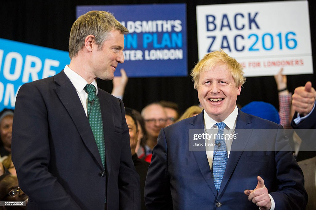 Conservative candidate for Mayor of London, Zac Goldsmith and London Mayor Boris Johnson attend a mayoral campaign rally at Grey Court School in Richmond on May 3, 2016 in London, England. The British Prime Minister David Cameron also joined the Conservative Mayoral candidate at Grey Court School on the penultimate day of campaigning. Former pupils of the school include London's Cycling Commissioner, Andrew Gilligan. Londoners go to the polls on Thursday 5th May with the declaration expected later on Friday 6th. The current Mayor of London is the Conservative MP for Henley, Boris Johnson.
