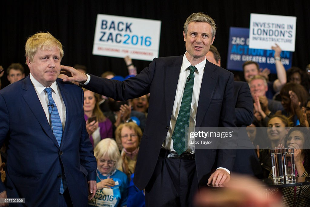 Conservative candidate for Mayor of London, Zac Goldsmith (R) and London Mayor Boris Johnson (L) attend a mayoral campaign rally at Grey Court School in Richmond on May 3, 2016 in London, England. The British Prime Minister David Cameron also joined the Conservative Mayoral candidate at Grey Court School on the penultimate day of campaigning. Former pupils of the school include London's Cycling Commissioner, Andrew Gilligan. Londoners go to the polls on Thursday 5th May with the declaration expected later on Friday 6th. The current Mayor of London is the Conservative MP for Henley, Boris Johnson.