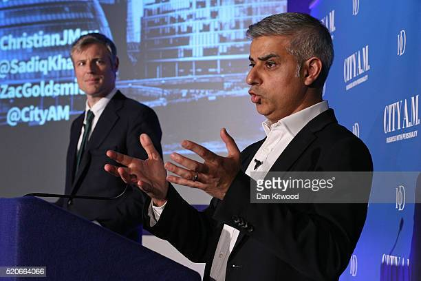 Conservative candidate for Mayor of London Zac Goldsmith and Sadiq Khan the Labour Party candidate speak to members of the public and media during a...