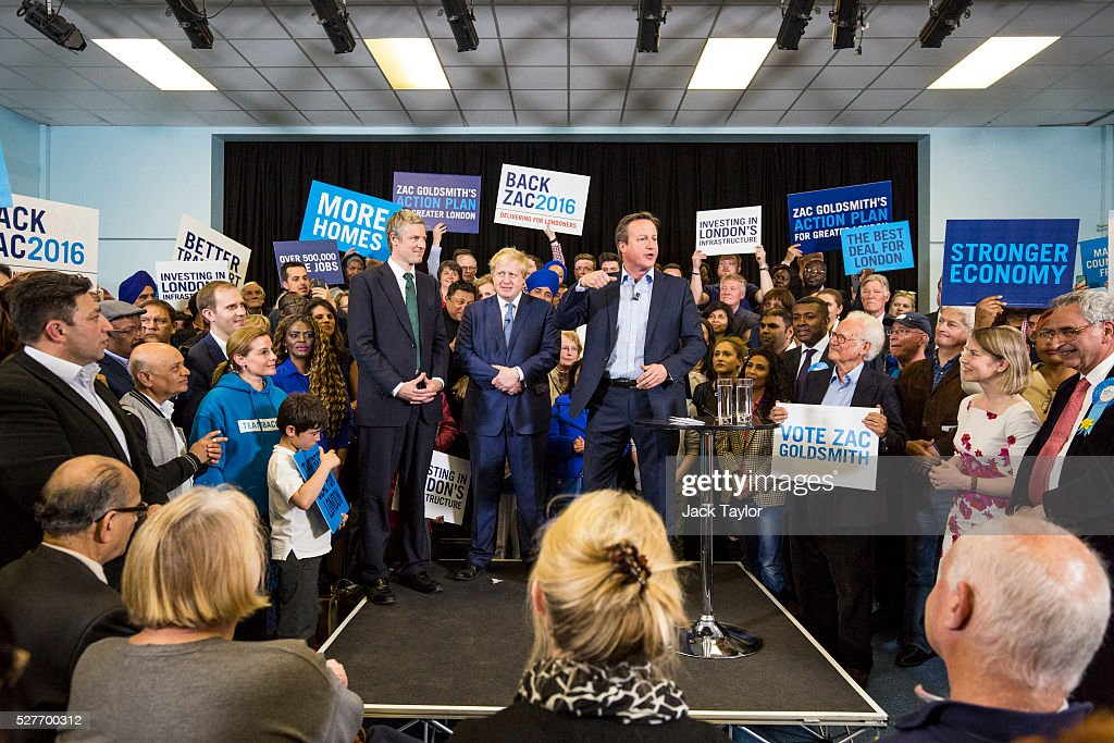 Conservative candidate for Mayor of London, Zac Goldsmith; London Mayor Boris Johnson and British Prime Minister David Cameron attend a mayoral campaign rally at Grey Court School in Richmond on May 3, 2016 in London, England. The Prime Minister joined the Conservative Mayoral candidate at Grey Court School on the penultimate day of campaigning. Former pupils of the school include London's Cycling Commissioner, Andrew Gilligan. Londoners go to the polls on Thursday 5th May with the declaration expected later on Friday 6th. The current Mayor of London is the Conservative MP for Henley, Boris Johnson.
