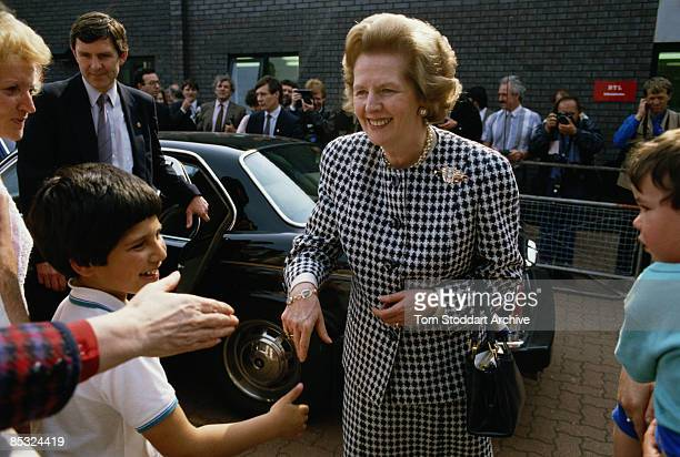 Conservative candidate Margaret Thatcher during the general election campaign May 1987