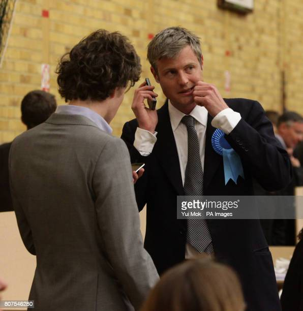 Conservative candidate Zac Goldsmith at the General election count for the London Borough of Richmond upon Thames at Richmond upon Thames College
