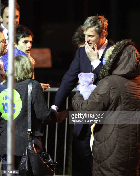 Conservative candidate Zac Goldsmith greets supporters upon arrival at the General election count for the London Borough of Richmond upon Thames at...