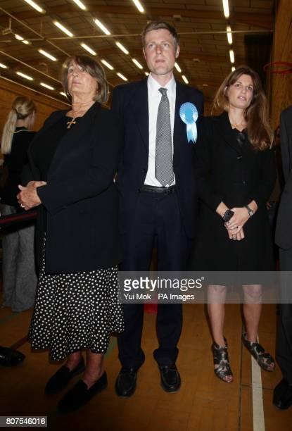 Conservative candidate Zac Goldsmith with his mother Annabel Goldsmith and sister Jemima Khan at the General election count for the London Borough of...