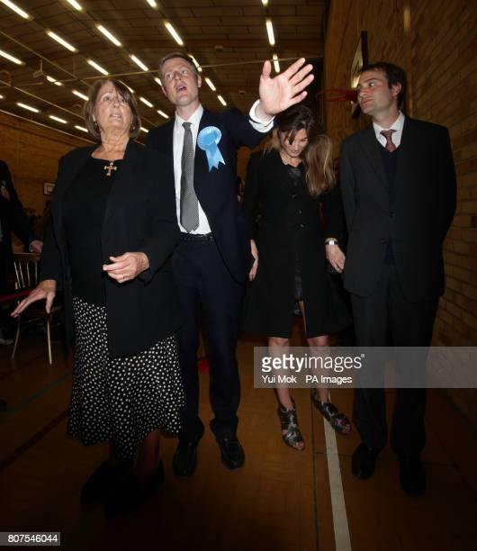 Conservative candidate Zac Goldsmith with his mother Annabel Goldsmith sister Jemima Khan and brother Ben Goldsmith at the General election count for...