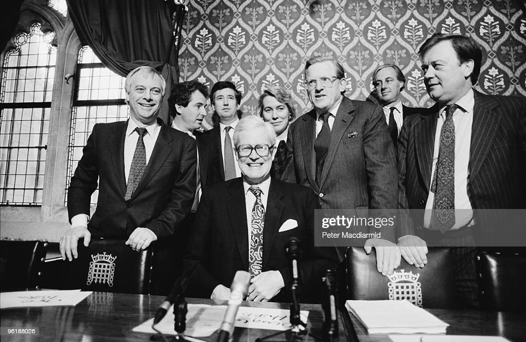Conservative Foreign Secretary Douglas Hurd with supporters in his bid for the party leadership after the withdrawal of Margaret Thatcher from the second round of the contest, House of Commons, London, November 1990. Left to right: Chris Patten, William Waldegrave, John Wakeham, Hurd, Virginia Bottomley, Tom King, unknown, Kenneth Clarke.