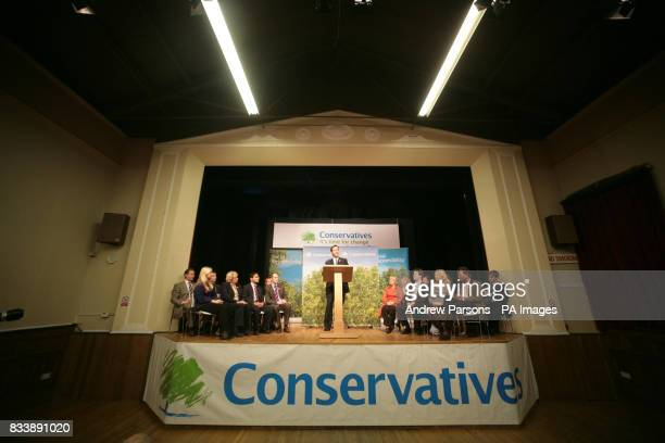Conservative leader David Cameron during a visit to his constituency sets out his vision for change at The Corn Exchange Market Square Witney...