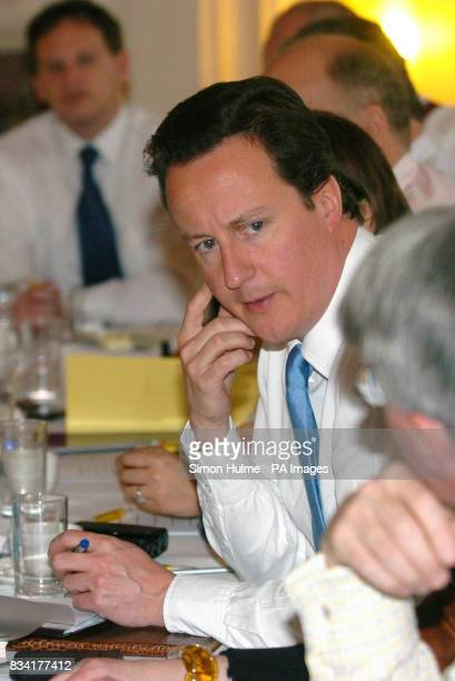 Conservative leader David Cameron during the Shadow Cabinet meeting at the Great Victoria Hotel in Bradford