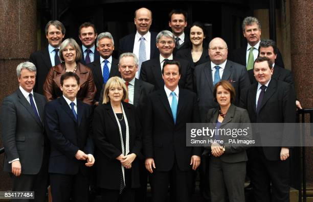 Conservative leader David Cameron stands with the Shadow Cabinet outside at the Great Victoria Hotel in Bradford