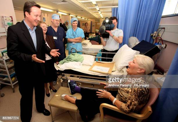 Conservative leader David Cameron talks to patient during a visit to the Princess of Wales Memorial Hospital in Ely where he announced a consultation...