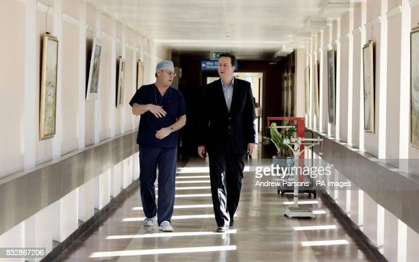 Conservative leader David Cameron talks with unit leader David Brooks on a visit to the Princess of Wales Memorial Hospital in Ely where he announced...