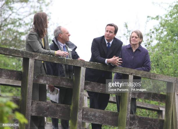 Conservative leader David Cameron with from left Philippa Lyons Chief Executive of the Berks Bucks and Oxon wildlife trust Nigel Phillips Head of...