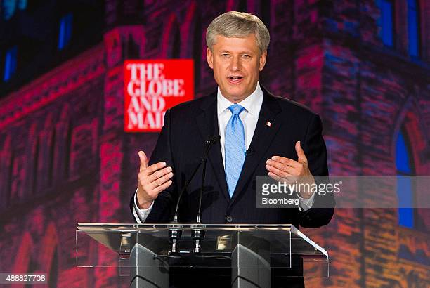 Conservative Leader Stephen Harper Canada's prime minister speaks during the second leaders' debate in Calgary Alberta Canada on Thursday Sept 17...